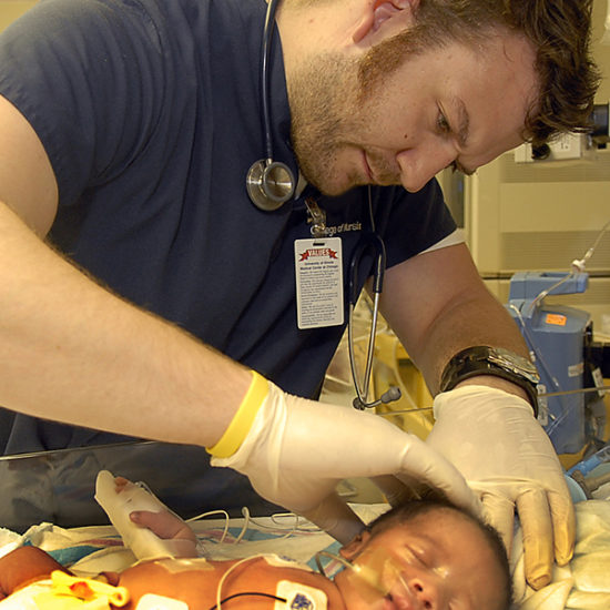 Nurse with newborn