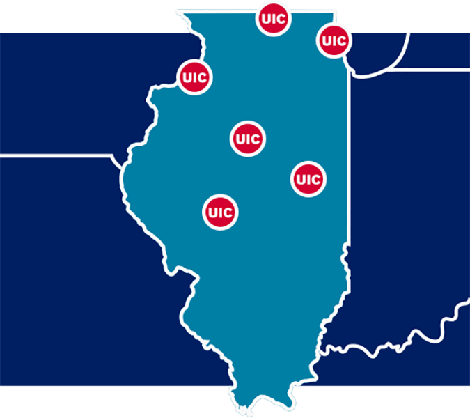 Map of Illinois with campuses marked