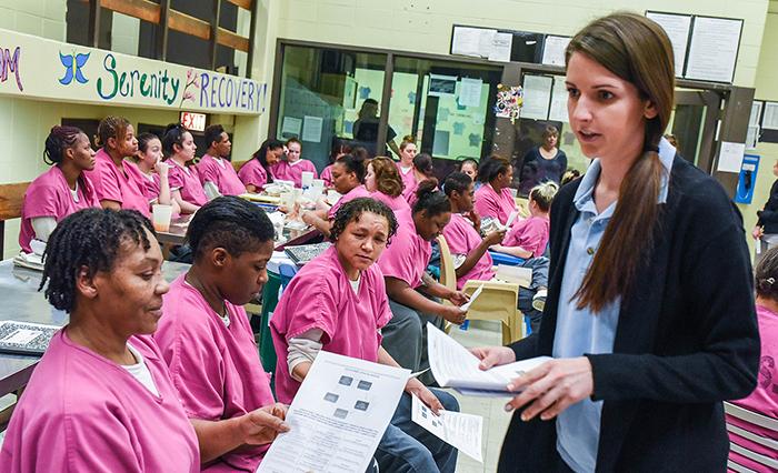 Amanda Cunningham teaching detainees
