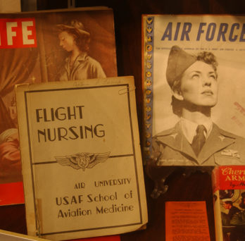 Covers of three publications: a LIFE Magazine, an Air Force manual, and a manual on flight nursing