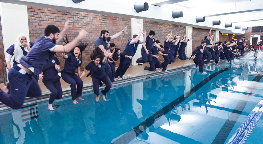 The senior class pool jump college of nursing - University of chicago swimming pool ...