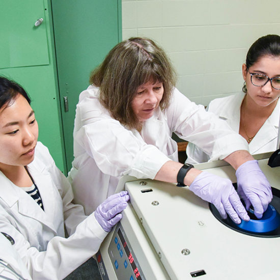 Quinn in lab with research assistants