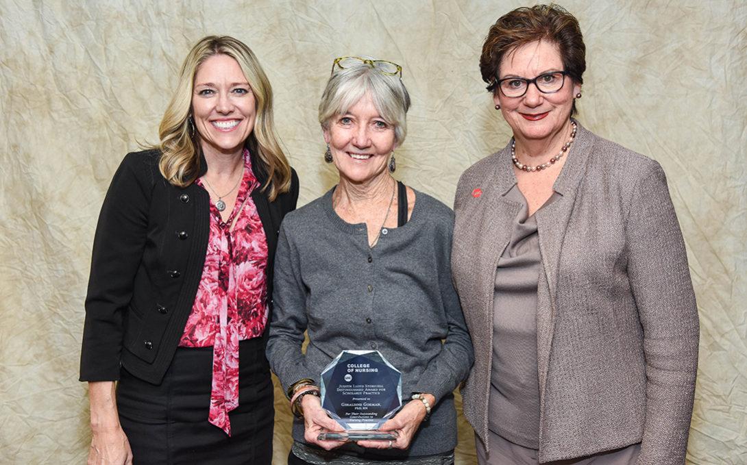 Gerry Gorman with Susan Corbridge and UIC Nursing Dean Terri Weaver