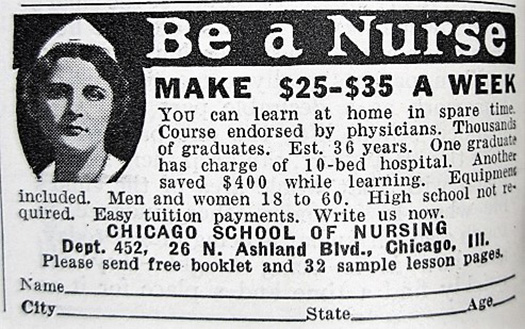 Decades-old advertisement for nurse education program