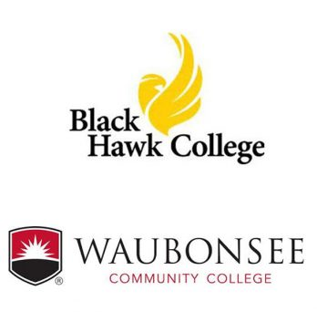 logos of Black Hawk College and Waubonsee Community College