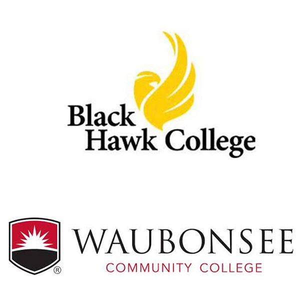 logos for Black Hawk College and Waubonsee Community College