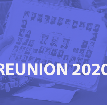 generic class photo with type saying REUNION 2020