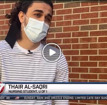 Urbana student Thair Al-Saqri being interviewed by WAND-TV news
