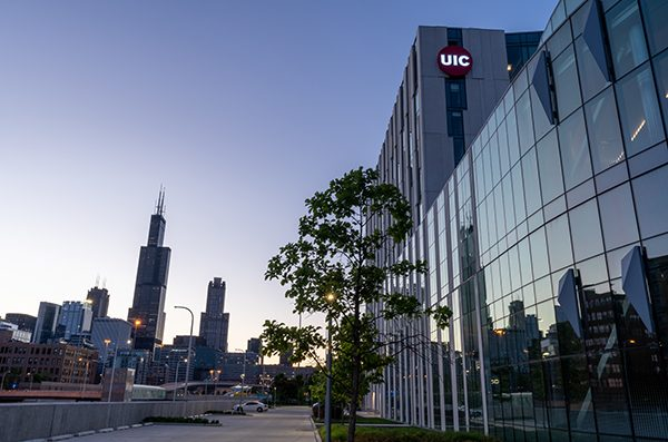 UIC East Campus and skyline