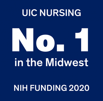 Graphic saying UIC Nursing, Number 1 in the Midwest, NIH Funding 2020
