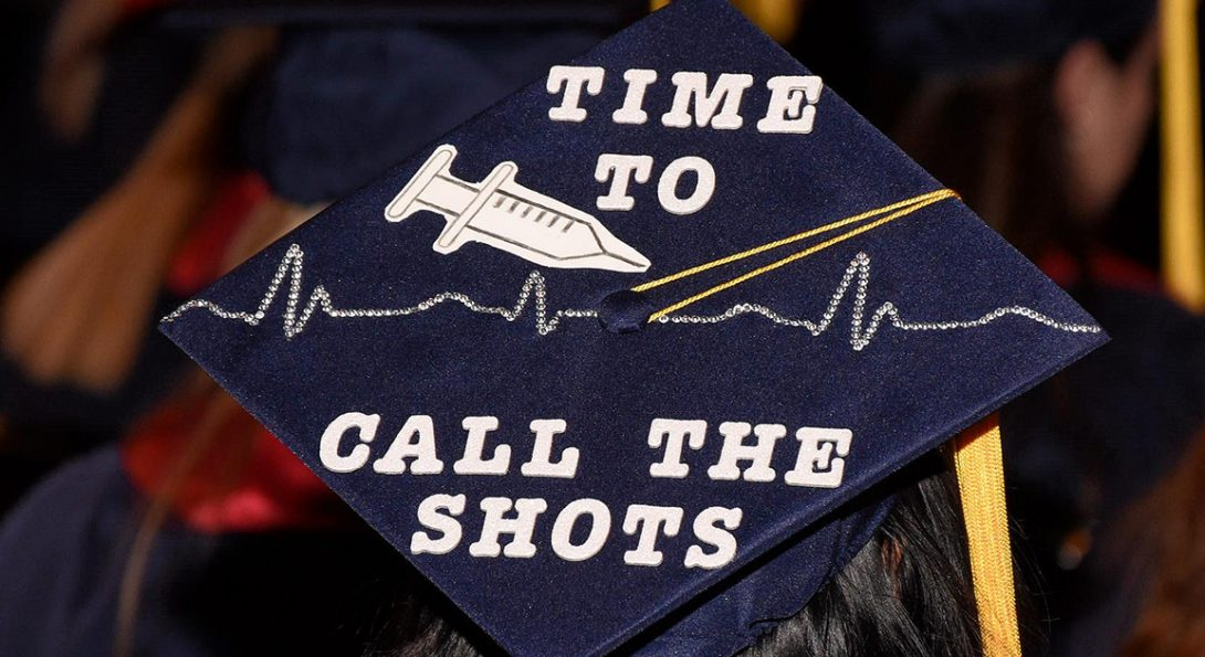 shot of mortarboard decorated with