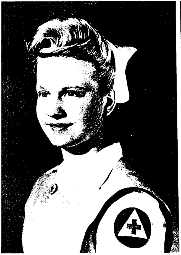 Scan of a photo of Karyn Holm's mother, Kathryn Petro McGaghie, from a 1943 manual for volunteer nurses' aides working with the Red Cross